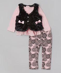 Look at this #zulilyfind! Black & Pink Bow Faux Fur Vest Set - Infant #zulilyfinds