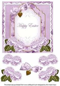 Lilac Rose Happy Easter Fancy 7in Decoupage Topper on Craftsuprint - Add To Basket!