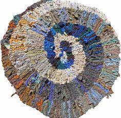 Blue & Brown Spiral Rag Rug