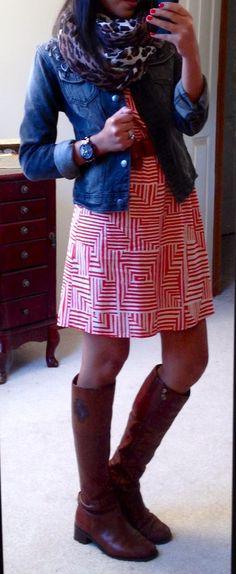 """winterizing"" a summer dress:: jacket, big scarf, & boots."