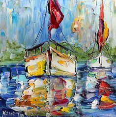 Original Sailing ocean Boat modern palette knife painting by Karensfineart