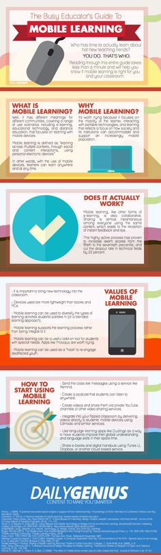Mobile Learning infographic. Useful factoids and tips that offer expert advice on what mobile learning is, who can use it, how to use it, and more.