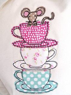 Teacup Mouse Canvas Shopper Bag by Delly Doodles, the perfect gift for Explore more unique gifts in our curated marketplace. Freehand Machine Embroidery, Free Motion Embroidery, Machine Embroidery Patterns, Free Motion Quilting, Fabric Cards, Fabric Gifts, Hand Applique, Embroidery Applique, Applique Designs