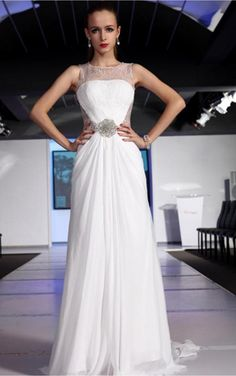 White A-line Floor-length Jewel Dress [Dresses 10005] - $206.00 :