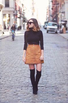 Emilee Anne wearing Zara Sweater // H&M Faux Suede Skirt // Stuart Weitzman…