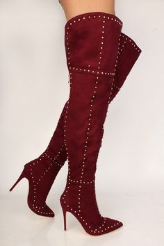c05bf4f9a2a80 Sexy Wine Studded Detail Pointy Toe Thigh High Heel Boots Faux Suede