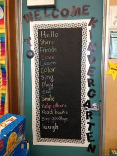Door decoration..Chalkboard with the names of the kids..then eventually notes to parents and HF words.