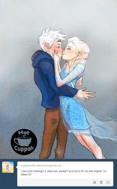 """Despite popular opinion, I feel that Jack would not be the one to make the first move. ( I mean really, he spent 300 years with no real human interaction, his game would be WAY off) I imagined this scene in my modernAU pitch idea that I mentioned earlier, with Elsa finally being able to see Jack after she """"Let it Go."""""""