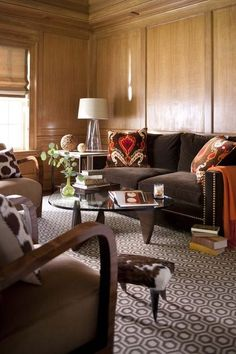 Transitional Living Room Design Ideas - Search transitional living-room embellishing ideas as well as furnishings formats. Discover design motivation from a range of transitional living rooms, including color, . Living Room Designs, Living Room Decor, Living Spaces, Sala Chocolate, Chocolate Brown, Living Room Orange, Wood Panel Walls, Paneled Walls, Wood Paneling