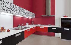 Popular Diese L f rmige K che verwendet schwarz wei und rot in seiner Farbgebung