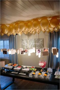 Engagement Party Ideas-hanging balloons with photos for decor! www.planitcfl.com