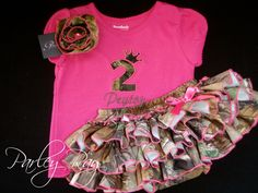 Beautiful Parley Ray Daddy's Girl REALTREE Camoflauge All Around Ruffled Skirt Baby Bloomers/ Diaper Cover Hunting. $45.00, via Etsy.