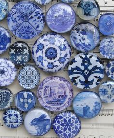 Delft Blue and White China Blue Transferware by AKAdecorativeart
