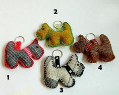 Tartan Scotty Dog Keychain Keyring Handmade Pet by wondrousplace