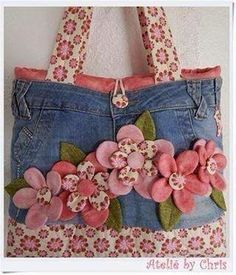 Best 12 Fun denim purse with rosettes – Page 739997782502421148 – SkillOfKing.Com – SkillOfKing. Jean Crafts, Denim Crafts, Denim And Lace, Jean Purses, Purses And Bags, Purse Patterns, Sewing Patterns, Fabric Crafts, Sewing Crafts