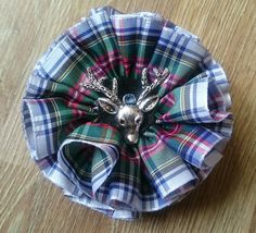 Dress Stewart Tartan Stag Corsage Brooch by AillisWonderland