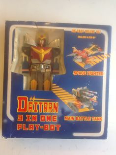 The original pre- TRANSFORMER DAITARN c.1983 3 in one cast metal toy. Complete with original box. Changes to BOT, SPACE FIGHTER and BATTLE TANK