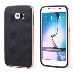 Samsung Galaxy S6 Bumper Hybrid Case Black TPU Gold