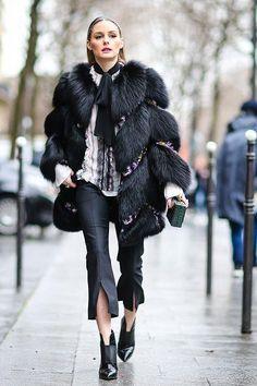 #jadealyciainc www.jadealycia.com Olivia Palermo wearing Jimmy Choo Mazzy Boots and Giambattista Valli Chevron Fur Coat