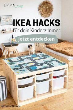 Lust auf eine Veränderung? Entdecke kreative Hacks für deine IKEA Möbel im Kinderzimmer. Ob Kallax, Trofast oder Duktig - finde jetzt die beste Idee für dein Möbelstück. Trofast Hack, Kallax Hack, Ikea Hacks, Duktig, Diy Home Crafts, Storage Chest, Bench, Nursery, Cabinet