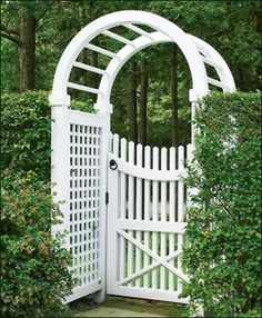 3 1/2' Vinyl Spindle Top Arbor - At one with the hedge on either side, this 3 ½' wide standard Spindle Top arbor with lattice panels is the ideal companion for a curved rail Freeport Chestnut Hill walk gate. Crafted with solid cellular vinyl a low maintenance wood alternative material.