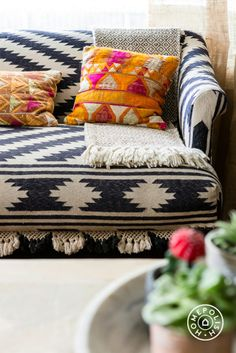 Image above: Paige Morse's Dallas home is filled with textiles. In this little corner of her living is a small settee made from vintage kilim rugs paired with a throw brought back from Mexico and pillows made from vintage wedding clothes from India. Home Interior, Interior Design, The Design Files, My New Room, Home Design, Home And Living, Living Room, Old Houses, Family Room