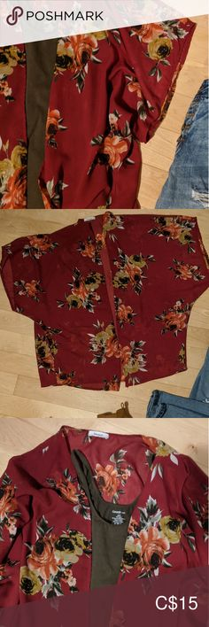 TEENBALL - Cover Up Top Burgundy and floral light weight short sleeve cover up. Plus Fashion, Fashion Tips, Fashion Trends, Top Colour, Floral Tops, Burgundy, Cover Up, Sleeves, Outfits