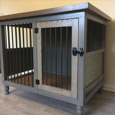 Dog kennel, single small, weathered gray bottom, briarsmoke top, handmade, solid hardwood