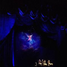 The Angel appearing to the Shepards scene, Rocketts Christmas Spectacular show, NYC photo by Susana Zatarain