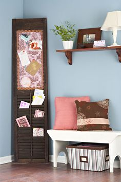 do-over shutter-this is a great way to display cards and artwork.  If only my kids would leave it alone!