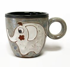 Caneca, caneca de café, copo de café, cerâmica e olaria, caneca Animal, Caneca Handmade, caneca de cerâmica, cerâmica artesanal caneca, copo engraçado, caneca Elefante, Cup
