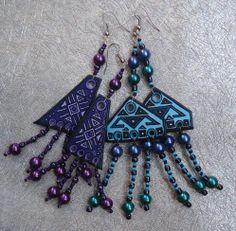 Ceramic Earrings with hand-painted ...Ar-Mari Rubenian.