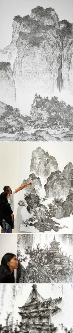 Taiwanese artist Chen Chun-Hao (陳浚豪) has mastered the delicate art of the nail gun: with a precise hand, he puts tens of thousands of nails into place to recreate famous Chinese watercolor landscape pieces.Wow!