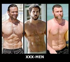 For the ladies ;) and especially for my dear friend Mim x Fltr: Hugh Jackman CHARACTER: Logan, a.k.a. Wolverine  Ryan Reynolds CHARACTER: Wade Wilson, a.k.a. Deadpool  Liev Schreiber CHARACTER: Victor Creed, a.k.a. Sabretooth