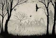 'Swallows over the Abbey' by Tim Southall (etching)