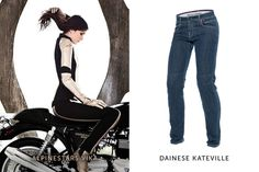 Women's motorcycle jeans by Alpinestars and Dainese.