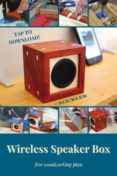 Build a single speaker with corner dowels using our free plans! Tap to download them here. #CreateWithConfidence #speaker #freeplan #woodworkingplan #bluetooth Beginner Woodworking Projects, Woodworking Shop, Woodworking Plans, Wireless Speakers, Bluetooth, Crafts To Sell, Diy And Crafts, Box Joints, Wood Working For Beginners