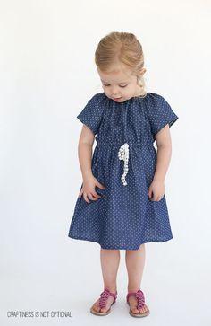 polka dot chambray peasant dress