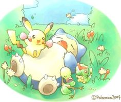I absolutely love this Poke'mon picture. The colors, the softness, the adorable little characters--it's so sweet! <3