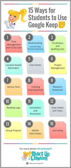 15 Ways for Students to Use Google Keep: Google Keep is a robust G Suite tool that can help teachers and students create and share notes, lists, and reminders. There are so many possibilities that I decided to put together this post and infographic with ideas for how Google Keep can be used in the classroom: 15 Ways for Students to Use Google Keep!