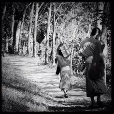 """""""A Buddhist monk carrying water up the mountain to the monastery in Luang Prabang (Laos/2012)"""" Photo taken by @actuallymt on Instagram, pinned via the InstaPin iOS App! http://www.instapinapp.com (10/27/2014)"""