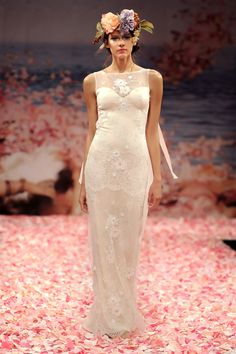 """Claire Pettibone """"Aphrodite"""" wedding gown, Spring 2013, ivory beaded lace gown with blush silk lining and ribbons streaming from the shoulders"""