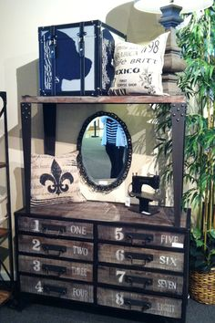 Iron and wood rustic vintage hutch - great for displaying cookware, herb plants, treasured collectibles and more!