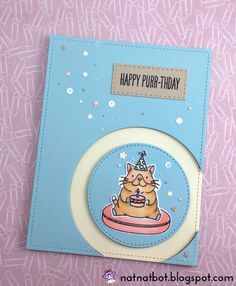 Happy Purr-thday To You! Celebrating with a cool cat in a party hat holding a cake. This card features the MFT Cool Cat stamp set.