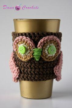 Crochet Owl Coffee Cozy by DanaMarieCrochets on Etsy, $10.00