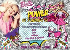 Barbie in Princess Power Birthday Invitation, FREE thank you card | PapelPintadoDesigns - Digital Art on ArtFire