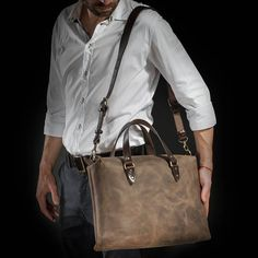 Leather messenger bag by Kruk Garage Leather briefcase Laptop