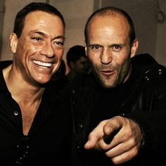 Jean-Claude Van Damme and Jason Statham Action Movie Stars, Action Movies, Bruce Lee, Jc Van Damme, Kung Fu, Jason Stathman, Handsome Rob, Claude Van Damme, The Expendables