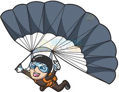 A male skydiver gliding down to the ground with his parachute open :  A man wearing a black helmet and goggles opening up his grey parachute and floating to the earth below with a big smile on his face  The post A male skydiver gliding down to the ground with his parachute open appeared first on VectorToons.com.