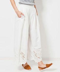 navasanaのパンツ ※kq2gee様専用※カットワーク刺繍パンツ コットンレース スカーチョ ワイドパンツ|ホワイト系